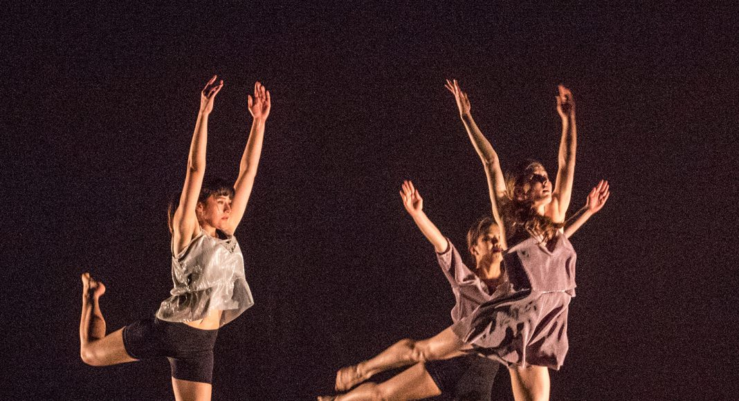 "NW dance students Michaela Cardinal, Alexis Ramirez and Christina Saysanam perform ""Insomnia: A Sleep Study,"" choreographed by C.S. Posthomus, at NW's show April 26."
