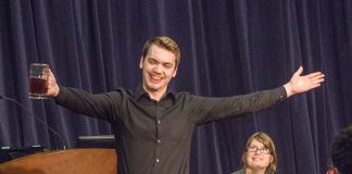 TR student Thomas Holcomb incorporates props into his second performance during the showcase April 26 on TR.