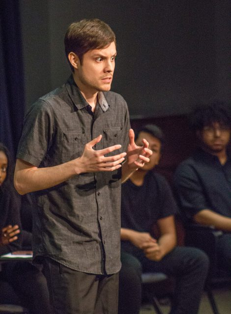 TR student John Parnell performs in Acting Class: Take a Seat! April 26 on TR, which featured acting students.