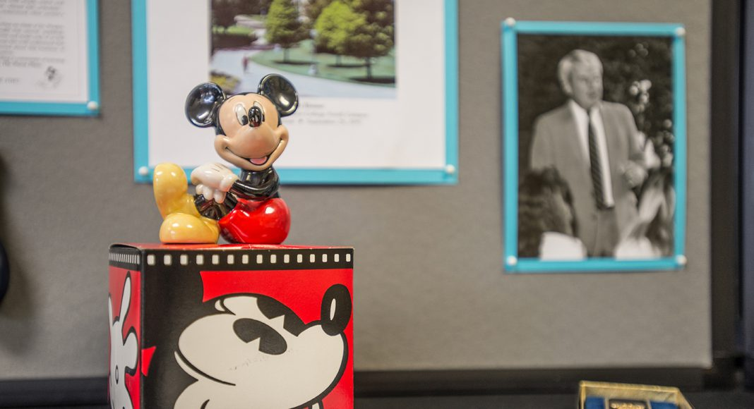 Many were surprised to see the collection of Mickey Mouse items that once filled former South Campus president Jim Worden's office.