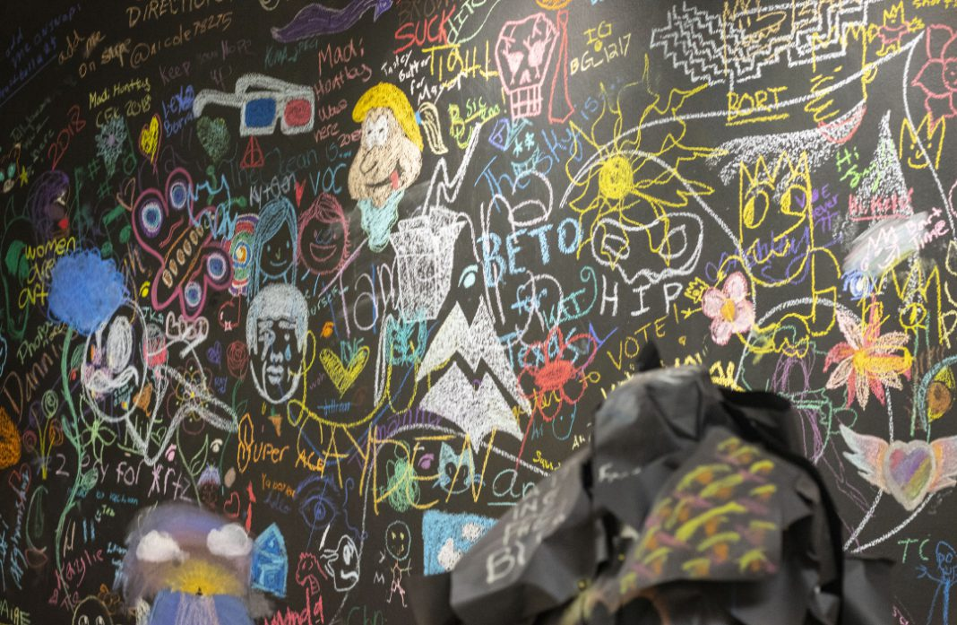 The chalkboard is in the Fine Arts building between NFAB 1313 and NFAB 1302.