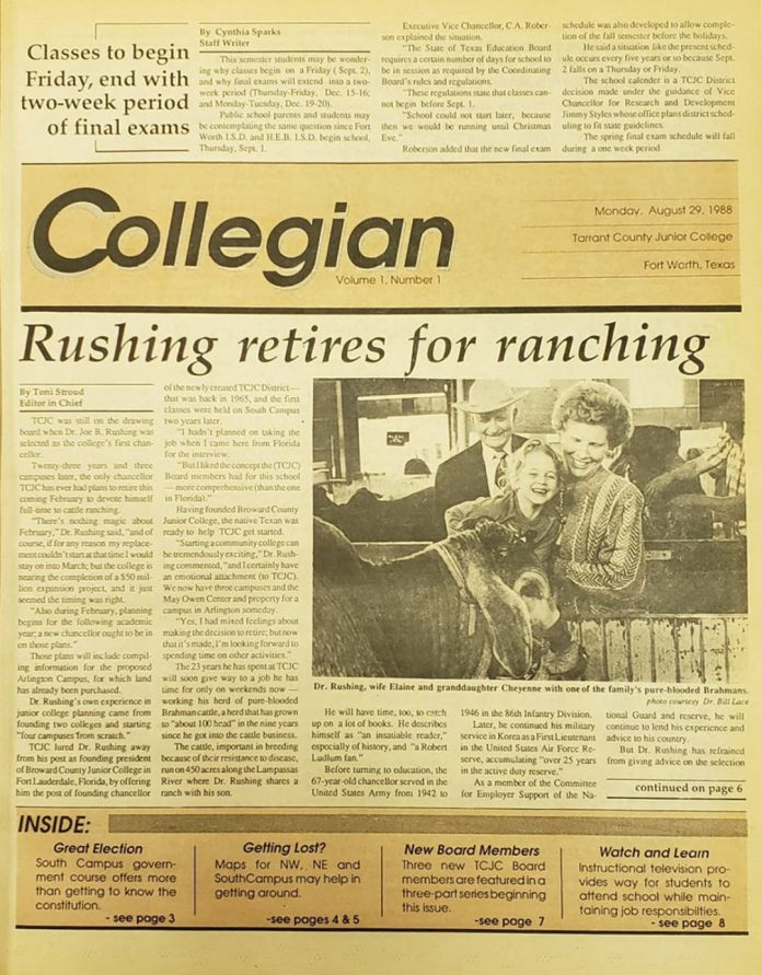 The image above is the front page of TCC's districtwide students newspaper's first issue published Aug. 29, 1988.