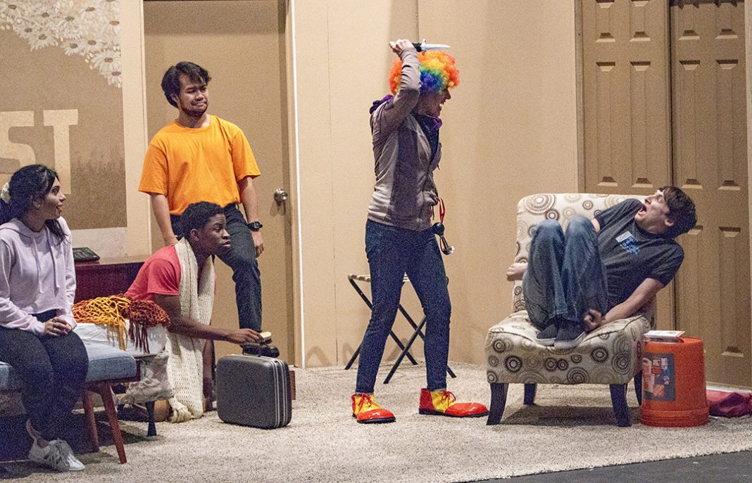 "SE student actors rehearse the ""newlywed"" scene to perfect their joke delivery for the comedy Wonder of the World. The play will run Oct. 3-6 in the Roberson Theatre on SE Campus."