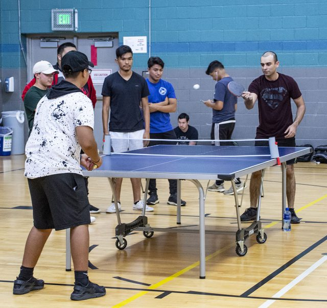 SE students Andrew Moore and Subhan Zubair play in the intramural table tennis tournament Sept. 20 in the SE gym. Zubair went on to take the match.