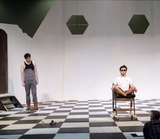 NE students Austin Peak and Danny Rengifo rehearse a scene from Samuel Beckett's Endgame which opens Sept. 26 at 7 p.m. on NE Campus in the NFAB theater.