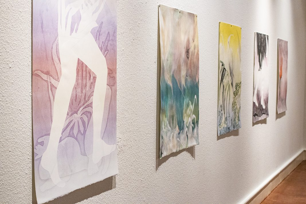Work by Jessi Barnes is on display in South's Carillon Gallery during regular gallery hours through Sept. 27. The exhibit also features prints created by South fine arts students.