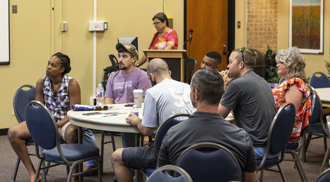 NE counselors and members of other organizations provide information for veteran students during an Aug. 31 session on NE Campus. The event included lunch and ways for veteran students to connect.