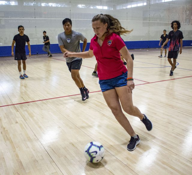 Marine Creek Early College High School student Kaila Odonald was one of only two girls who participated in the indoor soccer tournament.