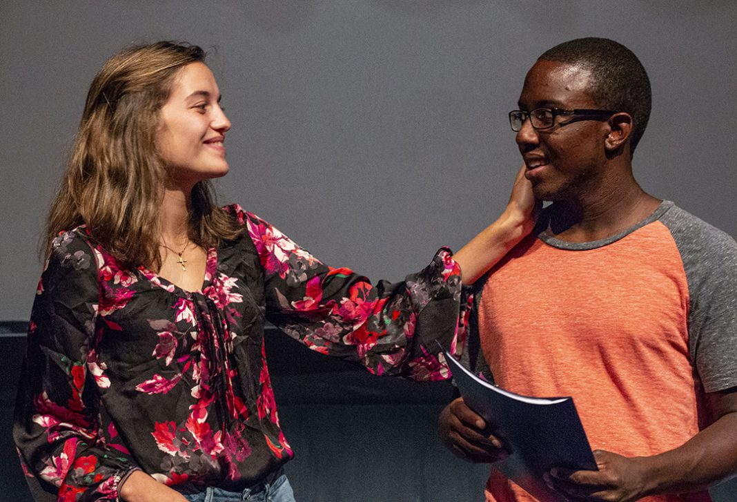 South students Devinne Jorgensen and Cameron Clowers rehearse lines from My 10 Year Old Self. The play will be Sept. 20-22 in the Joe B. Rushing Center for the Performing Arts on South Campus.
