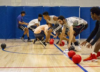 NW students make a dash at the start of an intramural dodgeball match Aug. 29. NW intramurals offer different sports throughout the semester including volleyball Sept. 6 in the NW gym.