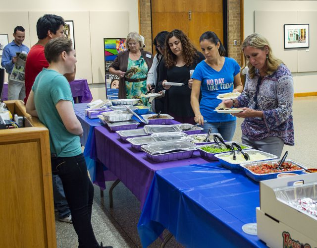 TCC students, faculty and staff line up for food from Elote Mexican Kitchen and Rosa's Cafe before the Sept. 19 Hispanic Heritage Month: Latinx Leadership Series event.