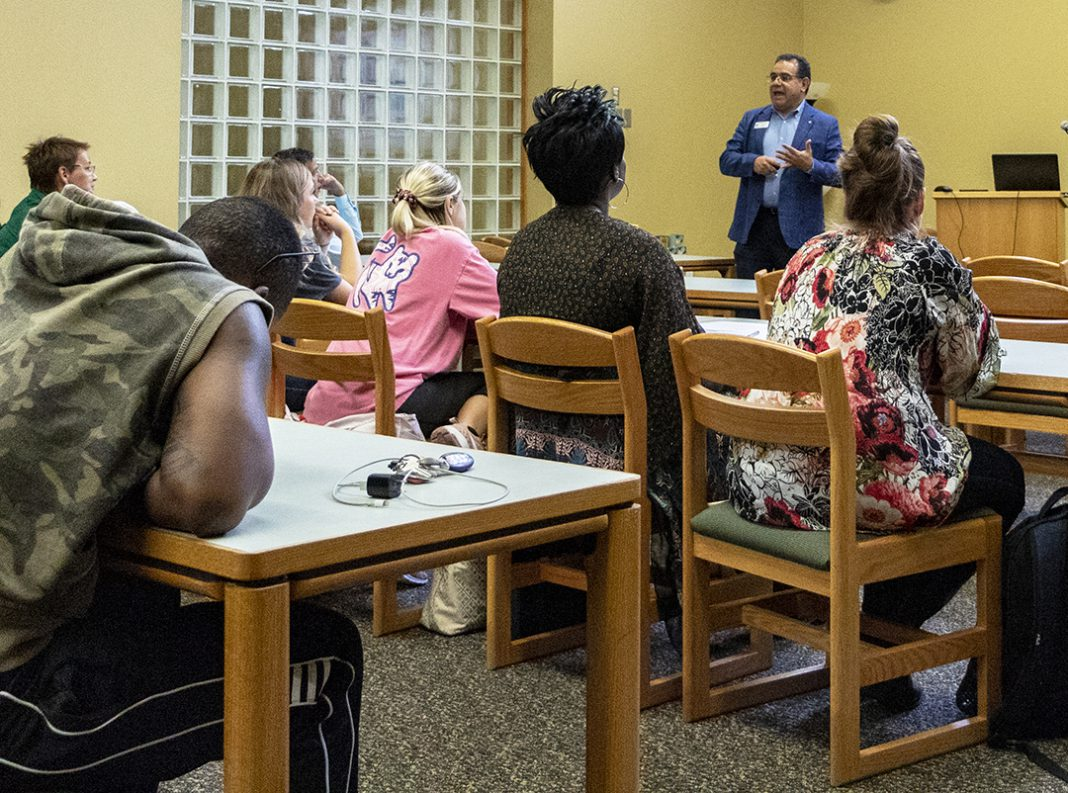SE humanities dean Josue Munoz discusses the Spanish language and its evolution through regional and cultural influences as part of Hispanic Heritage Month Sept. 26 on SE Campus.