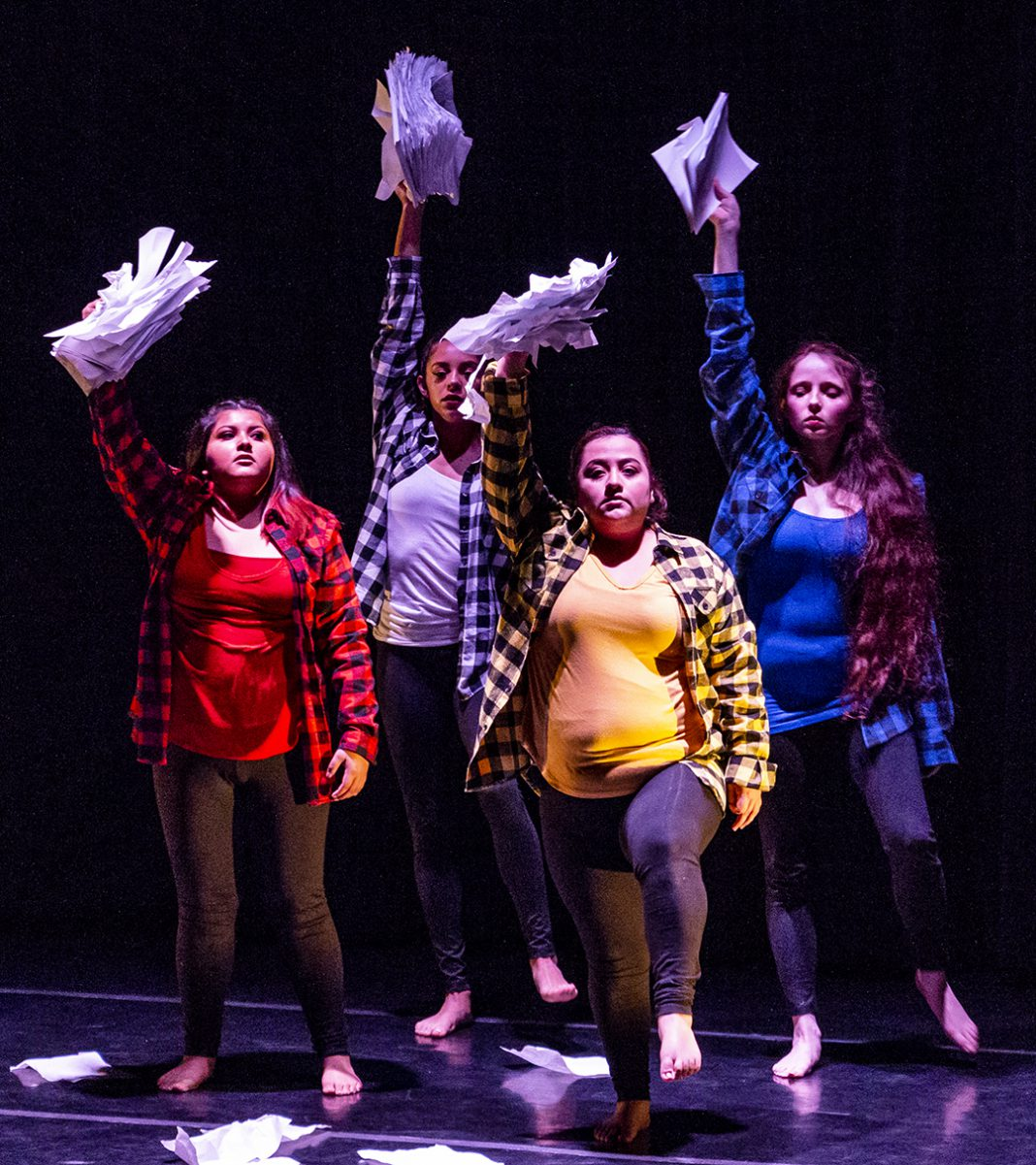 "South dancers perform ""Space to Write"" during the district dance concert Conversations in Rhythm Oct. 13 hosted by South's dance department."