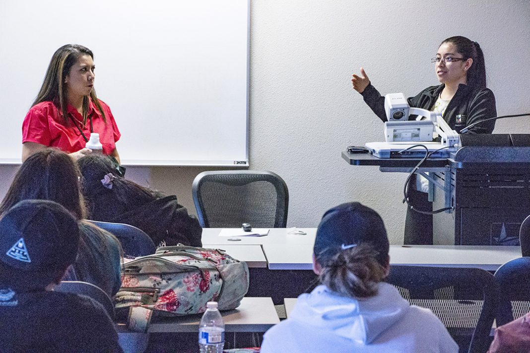 SE student development coordinator Carla Hernandez and academic adviser Casey Ramos conduct a leadership workshop Sept. 27 on SE.