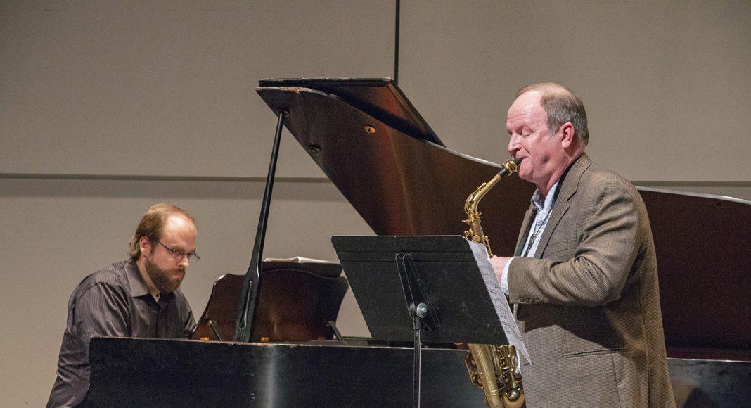 "SE music adjunct instructor Richard Smiley performs Ida Gotkovsky's ""Brilliance"" accompanied on piano by SE music adjunct instructor Josh Green."