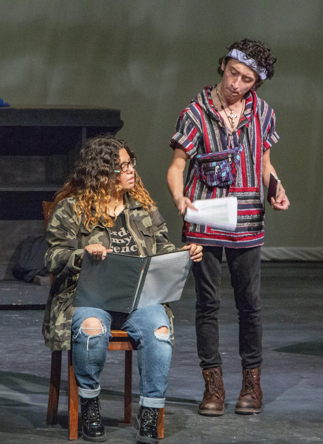 NE students Bianca Vaituulala and Jordi Salmeron rehearse lines for The Last Days of Judas Iscariot, which runs Nov. 7-10 on NE.