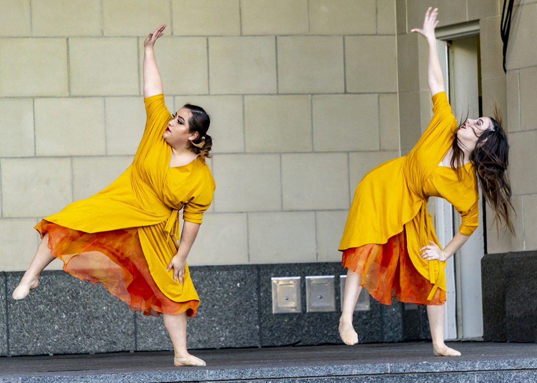 """South's Continuum Dance Company members India Fitzgibbon and Jackie Tijerina perform """"Statera"""" Oct. 3 at Converge."""