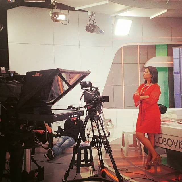 Pereira prepares to broadcast at Globovision, the television network she worked at in Venezuela before coming to the United States.