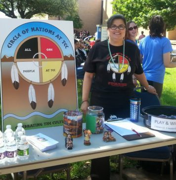 NE intercultural student engagement coordinator Marjeanna Burge shares her Native American Heritage at a NE Campus event.