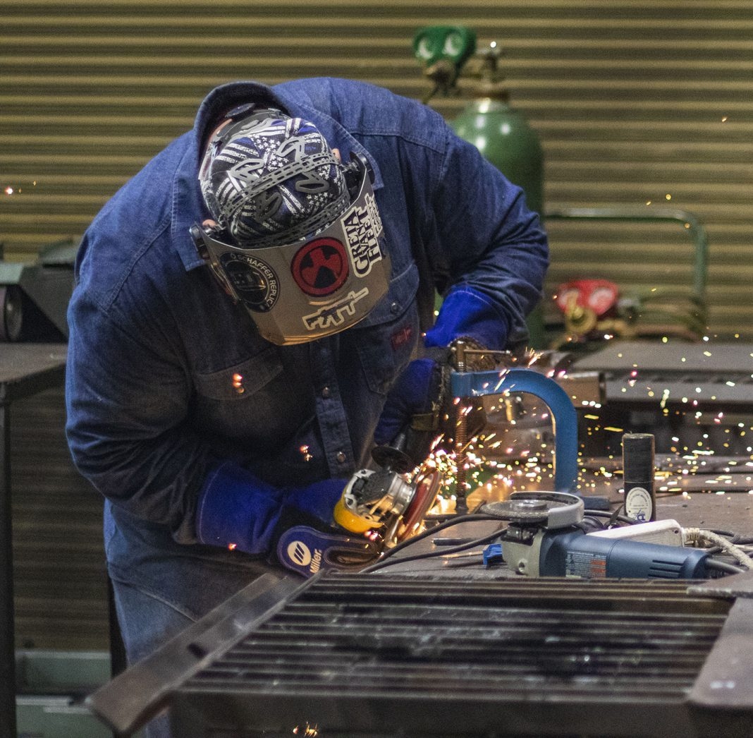 In the Intro to Pipe class, offered through South's welding program, students work on projects and familiarize themselves with the equipment.