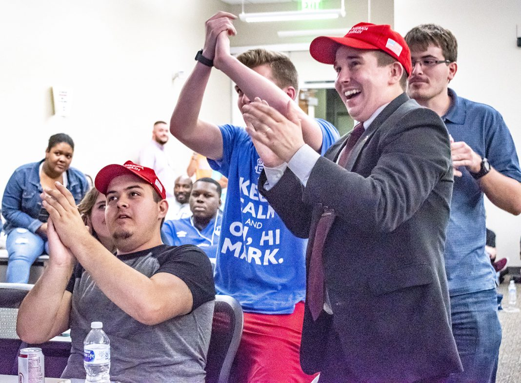 SE student Republicans celebrate as Ted Cruz starts to gain a lead against Beto O'Rourke in the U.S. Senate race at the Nov. 6 election watch party on SE Campus.