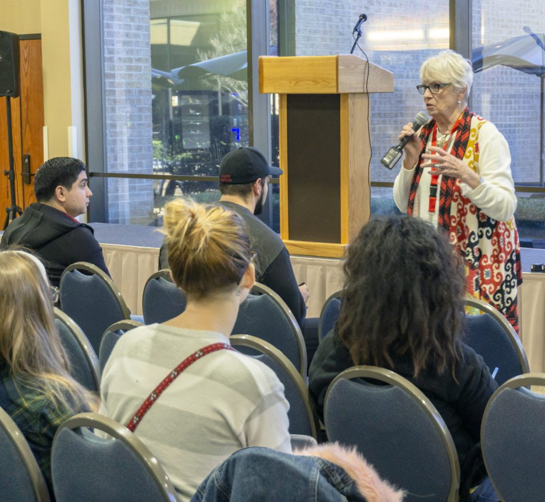 NE interim campus president Tahita Fulkerson answers students' questions during a town hall meeting Nov. 14 in the NSTU dining area on NE Campus. The event was hosted by NE's SGA, and students were able to express their concerns directly to the president and her staff.