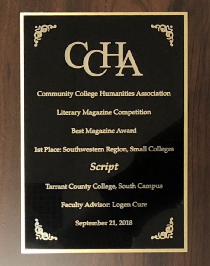 Script, South Campus' literary magazine, won the Best Magazine award in its division for their 2017 edition.
