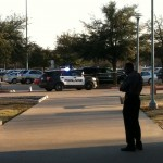 TCC police stand guard after a shooting on SE Campus.