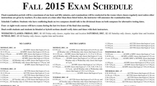 Fall 2015 Exam Schedule The Collegian