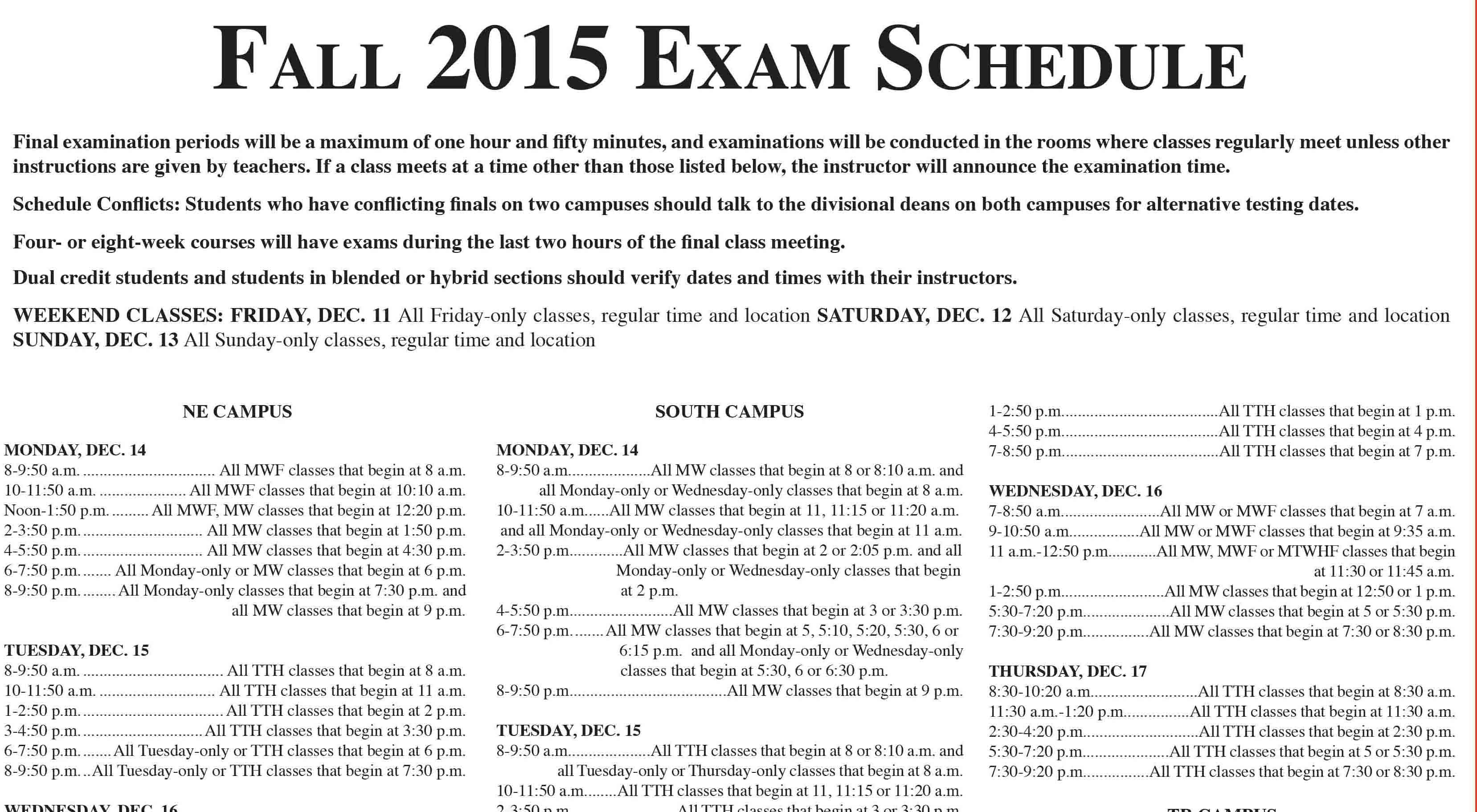 Fall 2015 Exam Schedule - The Collegian