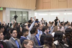 TCC students from all campuses stand and ask questions for each of three visiting U.S. representatives about a range of national topics Feb. 5.Photos by Karen Rios/The Collegian