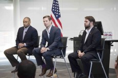 U.S. Reps. Marc Veasey of Texas, Eric Swalwell of California and Ruben Gallego of Arizona talk with TCC students on South, speaking about debt and financial loans.