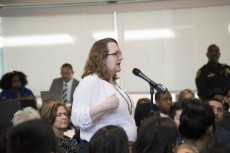 TR and NW student Kay Carroll speaks her mind during the Feb. 5 student town hall meeting on South Campus.
