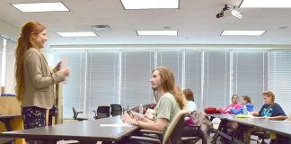 NW government professor and pre-law advisor Julie Lantrip explains moot court boot camp to debate students during their first meeting of the semester Sept. 12.
