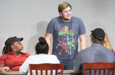 NW student Michael Matthews plays Juror #3, the bad guy of the play.