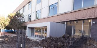 Construction to connect the ESEE and ESCT buildings begins as part of an effort to increase sticky spaces for students on SE Campus.