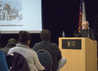 SMU English professor Ezra Greenspan discusses Frederick Douglass' life, views and work as an abolitionist Feb. 6 on NE Campus.