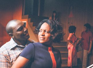 Chelle, played by JuNene K, and Sly, played by Orlando Valentino, perform a scene in Detroit '67, which centers around the racial tensions that led to the Detroit Riots in 1967.