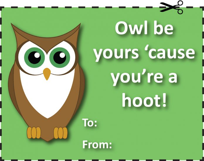 For the unconventional valentine, cut out one of the non-traditional, free Valentine's Day card and give to your friends.