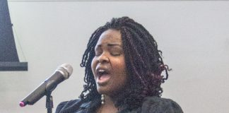 Faith Wiley sings at the Celebrating Strides event Feb. 27 on TR Campus.