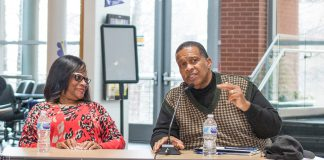 Local dentist Marie Holliday and R.D. Construction CEO and president Randle Howard discuss owning a business Feb. 28 at the Black Business Panel on TR.
