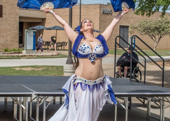 Local belly dancer Sa'diyya performs for students, faculty and staff April 11 at NE's International Festival.