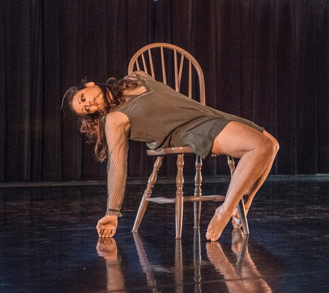 "SE dance associate professor Brandy Niccolai-Belfi performs ""Frere,"" choreographed by SE student Kiera Amison. The Student Choreography Concert featured student and faculty performances April 20 on SE."