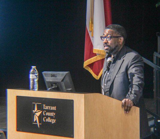 Poet Major Jackson speaks at the Living Literature event on April 19.