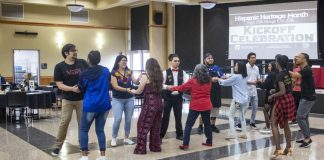 Pura Vida Afro Latin Dance instructors Juleon and Anais teach the bachata dance style to SE students at the Hispanic Heritage Kick-Off Sept. 12. Elote Mexican Kitchen also provided food for attendees.
