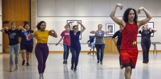 NE Campus kicked off Hispanic Heritage Month again this fall with a dance class taught by Dallas-based choreographer Ernesto Plazola Sept. 12. This year Plazola taught faculty, staff and students the Brazilian Samba.