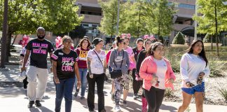TR students participate in the Breast Cancer Awareness Walk Oct. 11 on TR Campus. The walk took about 15 minutes starting in the Idea Store and finishing in the TR Plaza.