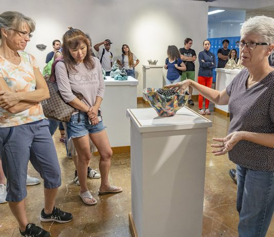 During an opening reception Oct. 8, artist Barbara Frey shares the array of ceramic techniques she used to create the different pieces that are on display in the Lakeview Gallery on NW Campus now through Nov. 1.
