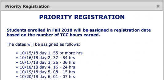 Registration opened for students with 55 or more credit hours Oct. 15. For all upcoming registration dates and deadlines, go to TCC's website.