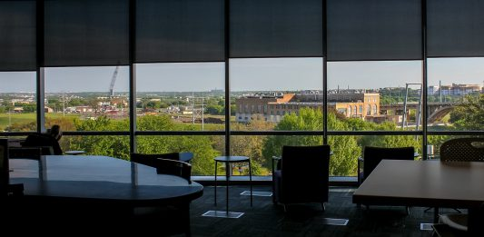 The view of Fort Worth from the Tahita Fulkerson Library on TR Campus named for its founding president. TR Campus is celebrating its 10th anniversary this year. Photo courtesy Veronica Rosas